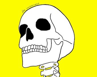 Funny I'm Uninterested Skeleton Skull Art Print