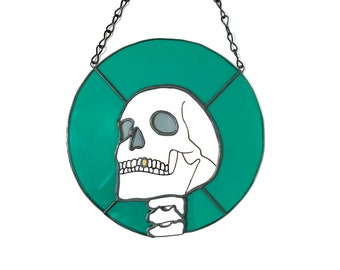 Funny Skull Skeleton with Gold Tooth Stained Glass Wall Window Hanging Decoration