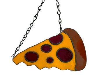 Funny Pepperoni Pizza Stained Glass Wall Window Hanging Decoration