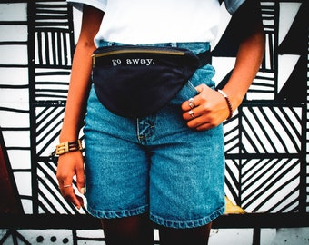 Funny Embroidered Go Away Black Fanny Pack