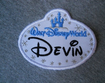 FREDDIE NAME TAG BLUE AND WHITE Iron or Sew-On Patch