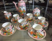 Pink Inmortals lithophane complete 6 cup 6 dishes teacup sugar bowl milkmaid. Handpainted, eggshell