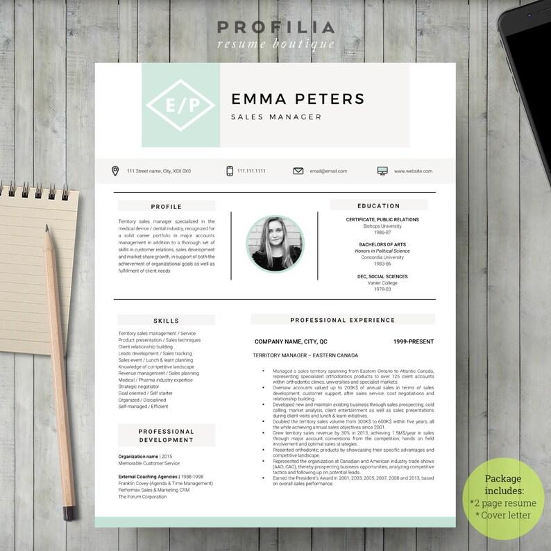 Modern Resume /& Cover Letter Template Editable word format -