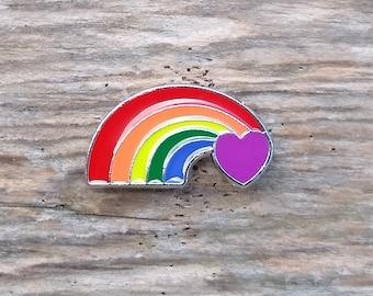 Rainbow Enamel Pin, Pin for Backpacks, Pin for Hat, Pin for Denim, Purple Heart
