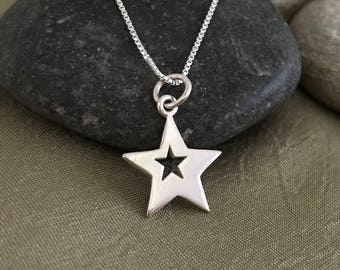 Silver Star Necklace - Star Jewelry - Sterling Silver Star - Shooting Star - Graduation gift 10th Birthday Gift 16th Birthday 18th Birthday