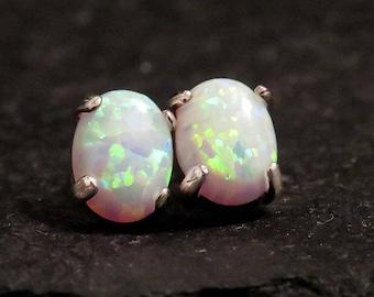26233da80 Large white fire opal Earrings, oval opal studs, studs white fire opal set  sterling silver, fire opal ,fire colorful opal, fire white opal
