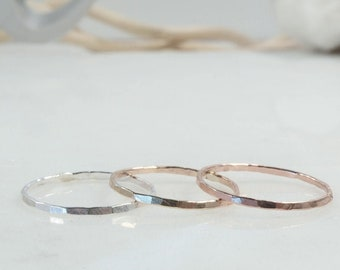 SALE 50% OFF Hammered band ring, smooth band ring, matching ring, stacking ring, hammered metal ring, smooth ring, hammered stacking ring