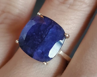 Large raw Sapphire ring, natural square Sapphire ring. dark Sapphire solitaire ring, very large genuine natural sapphire ring, sapphire ring