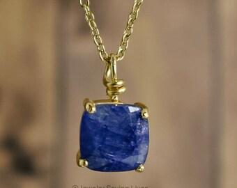Sapphire necklace, square sapphire necklace, matching sapphire necklace, unique sapphire necklace, raw sapphire necklace, untreated sapphire