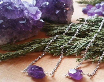 Amethyst Point on Amethyst Necklace  Genuine Amethyst Necklace  February Birthstone Gift Crown Chakra orig 70 dollars now 56 sale