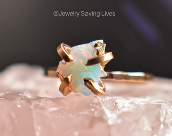 Bright White Natural Opal ring, white opal ring, white opal jewelry, raw opal ring, opal ring, unique white opal ring, natural opal, PYOS