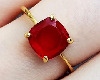 January Birthstone Ring Garnet Ring Natural Mozambique Garnet Gemstone Vintage Style 925 Sterling Silver Ring 6.5 US Handmade Ring