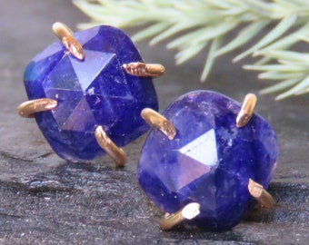 Raw sapphire cushion prong earrings, square rough deep blue sapphire studs, natural sapphire earrings in prong setting, genuine sappihire