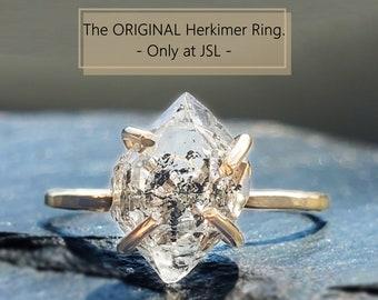 Raw diamond ring, raw herkimer diamond ring, salt and pepper diamond, natural diamond ring, salt and pepper herkimer diamond ring, herkimer