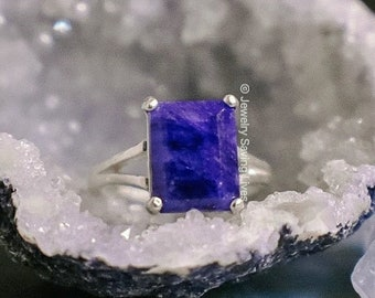 Sapphire engagement ring, sapphire emerald cut ring set in sterling silver raised setting, sapphire engagement ring, sapphire ring