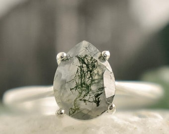 Teardrop Moss Agate Engagement Ring, Alternative Engagement ring, they them engagement ring, her and her ring, moss agate ring, natural ring