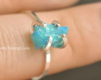 Bright Blue Australian Opal ring, periwinkle opal ring, blue opal jewelry, periwinkle blue opal, blue opal ring, unique blue opal ring, PYOS