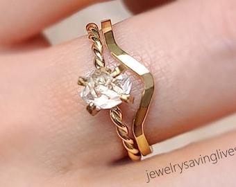 Raw Diamond Wedding Set, Herkimer ring wedding set, salt and pepper wedding set, salt pepper diamond wedding ring, engagement ring