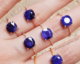 Blue sapphire ring, natural genuine sapphire ring, square raw sapphire ring, blue and silver raw sapphire ring, authentic sapphire ring