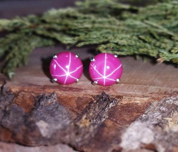 pink star ruby jewelry Star ruby earrings 8mm genuine star ruby earringsnecklace authentic ruby earrings natural star ruby