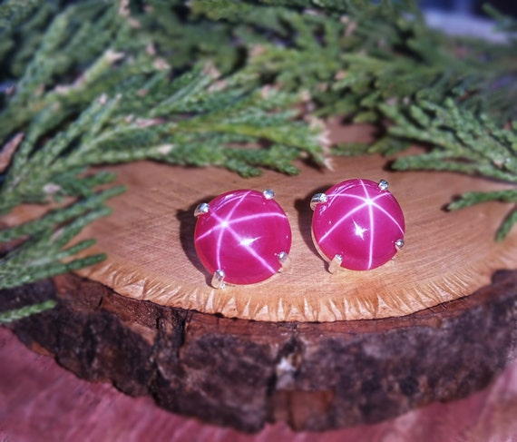 genuine star ruby earringsnecklace authentic ruby earrings natural star ruby Star ruby earrings 8mm pink star ruby jewelry