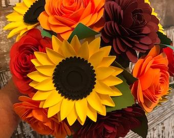 Herbstpapier Blumenstrauß, PapierBlumen, Papier Rosen, Geschenkstrauß