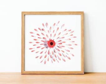 Pink flower decor, Blush daisy wall art, pink gerbera daisy, pink aesthetic, pink flower art, nursery wall decor
