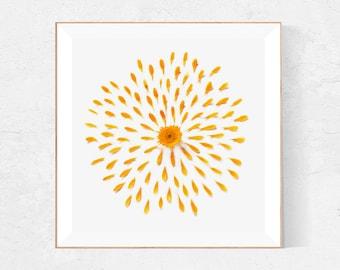Orange Flower wall art, Bathroom wall decor, Fall decor, Orange blossom, Flower print, botanical print, burnt orange print