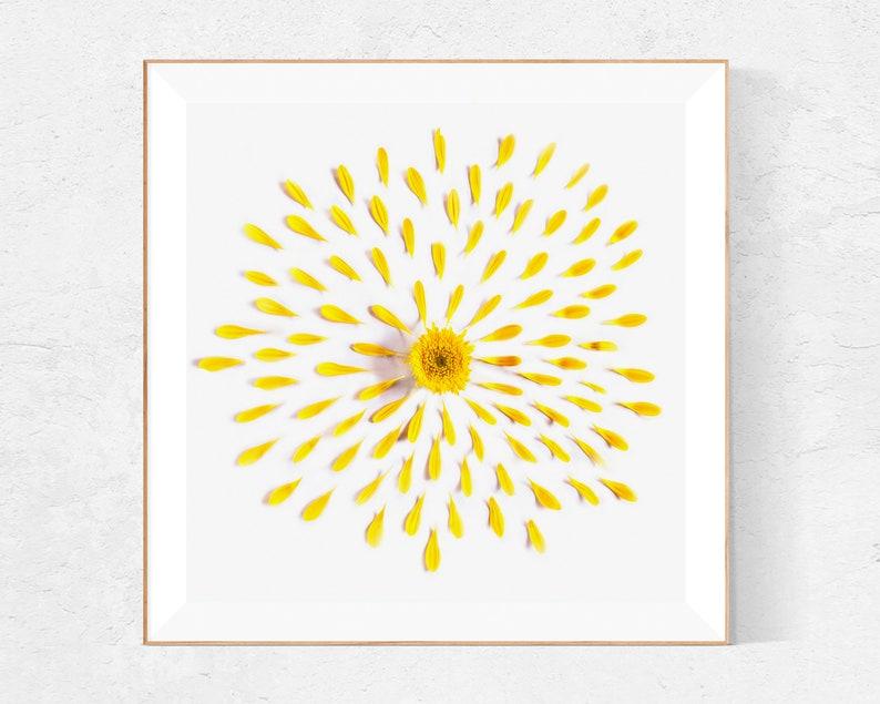 Yellow wall art sunflower print bathroom wall decor image 0
