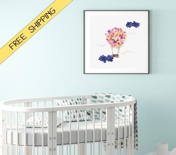 Globos, Decoración para cuarto de niños, cuarto de juegos, habitación de  bebé, globo aerostático