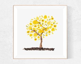 Yellow leaves tree print, Venezuela art, Araguaney, yellow wall art, Acacias tree print, FALL Decor