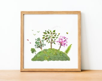 Spring decor, Botanical Tree print, Mountain wall art, Nature print made with flowers and leaves