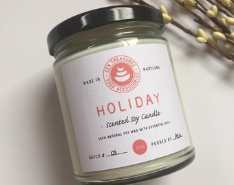 Hand Poured Soy Candle ~ Holiday