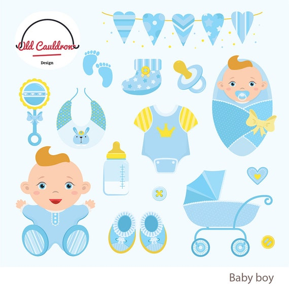Baby Boy Clipart Commercial Use Baby Clipart Baby Shower Etsy