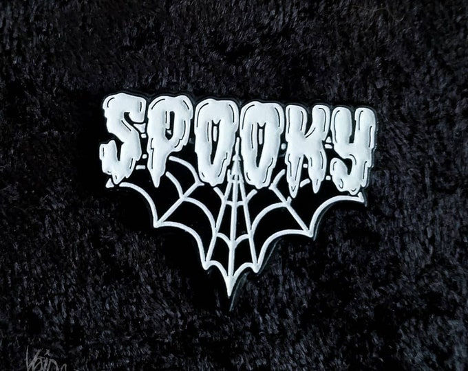 Featured listing image: Spooky Spiderweb Glow In The Dark Enamel Lapel Pin By VOIDEaD