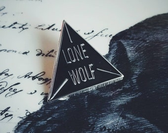 Lone Wolf Silver and Black  Enamel Wolf Moon Society Lapel Pin By VOIDEaD