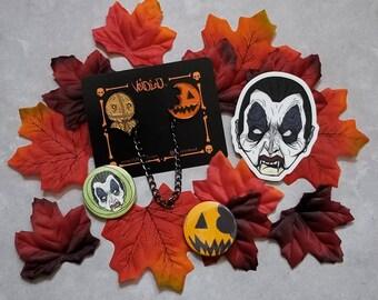 Trick R Treat Sam and Pumpkin Sucker Chain Pin, button and Sticker Set By VOIDEaD