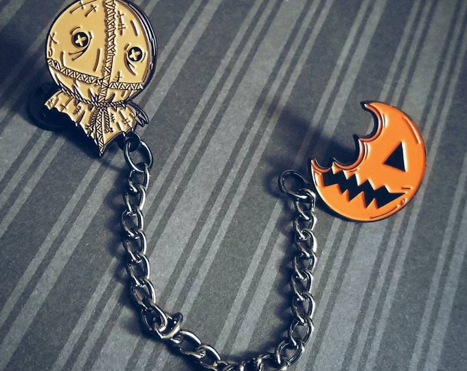 Featured listing image: Trick R Treat Sam and Pumpkin Sucker Chain Enamel Lapel Pin Set By VOIDEaD