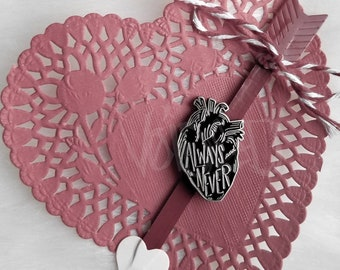 Anatomical Heart Always And Never Lapel Pin By VOIDEaD