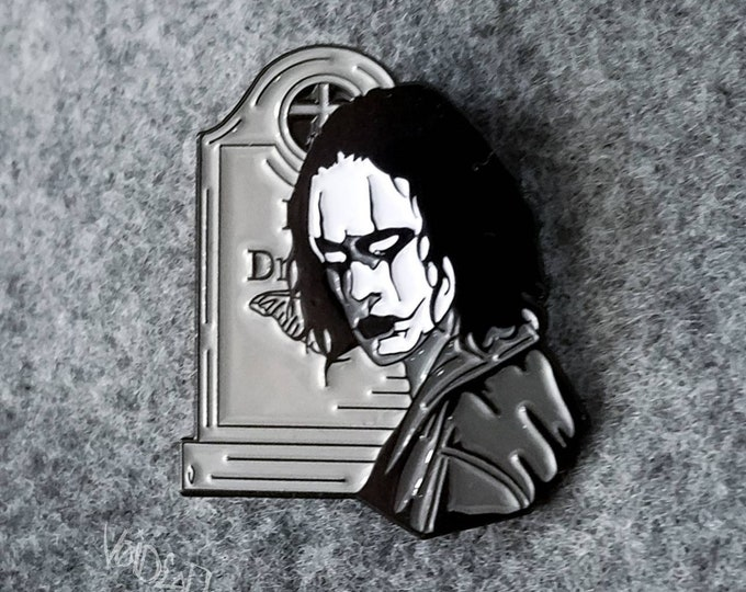 "Featured listing image: The Crow ""It Cant Rain All The Time"" Enamel Lapel Pin By VOIDEaD"