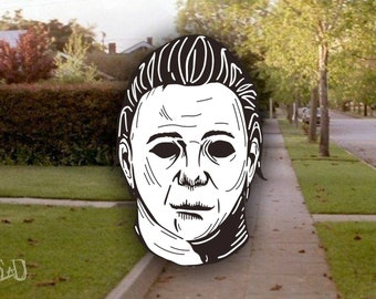 Halloween Michael Myers Glow in The Dark Enamel Lapel Pin By VOIDEaD