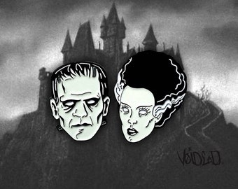 Frankenstein and Bride of Frankenstein Enamel Lapel Pin Set By VOIDEaD