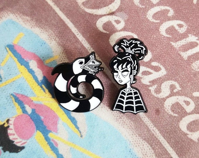 Featured listing image: Beetlejuice Lydia Deetz and SandWorm Lapel Pin Set By VOIDEaD