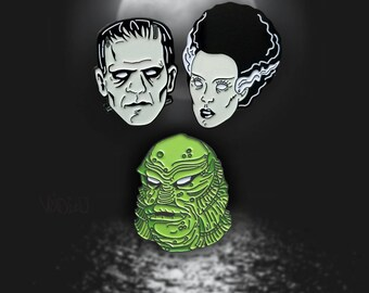 Frankenstein, Bride of Frankenstein and Creature From The Black Lagoon Monster Mash Enamel Lapel Pin Set By VOIDEaD