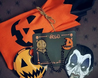 Trick R Treat Sam and Pumpkin Sucker Chain Enamel Lapel Pin and Sticker Set By VOIDEaD