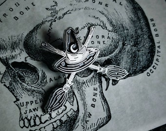Witch Hat and broom ( crossbones) Endless Night Silver and Black Enamel Wolf Moon Society Lapel Pin By VOIDEaD