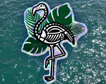 Skelemingo skeleton flamingo holographic Sticker By VOIDEaD