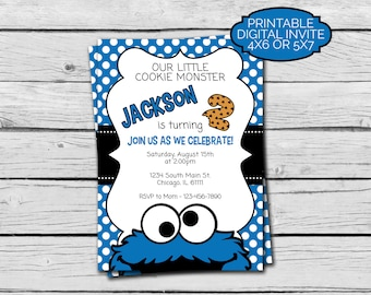 Cookie Monster Birthday Invitation - Digital File