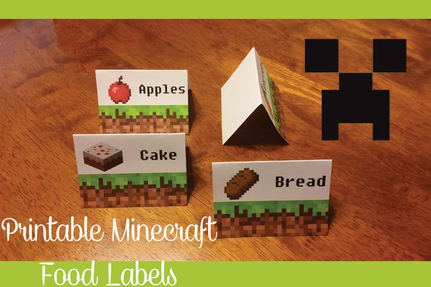 graphic about Minecraft Free Printable Food Labels titled Mine craft Influenced Printable Foods Labels - Electronic Record - 20 Tent Fold Labels