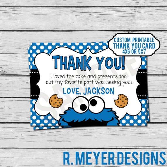 Cookie Monster Birthday Thank You Card Custom Digital File Etsy